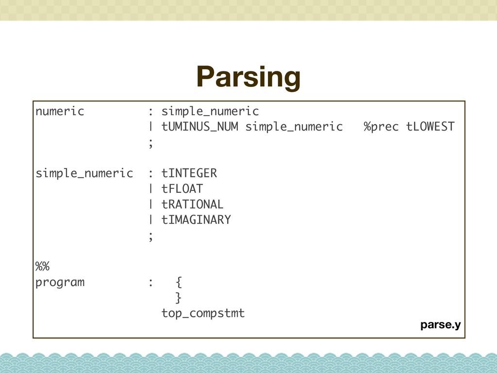 Parsing numeric : simple_numeric   tUMINUS_NUM ...