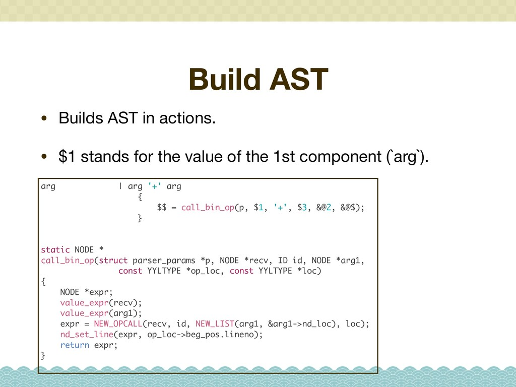 Build AST • Builds AST in actions.  • $1 stands...