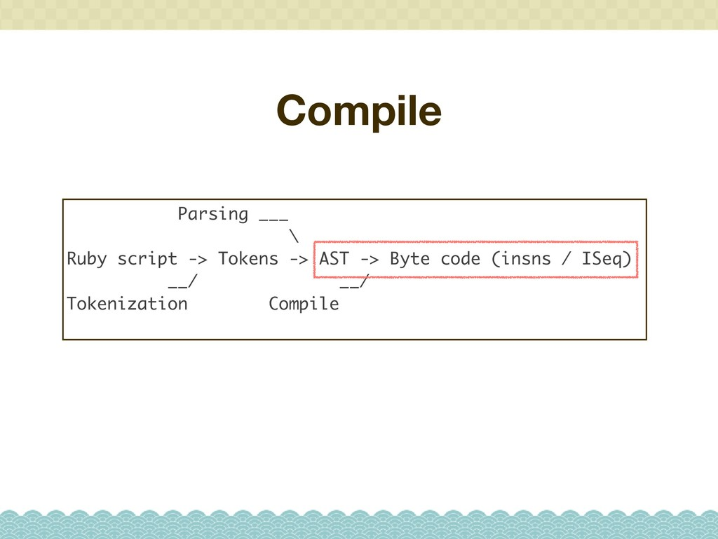 Compile Parsing ___ \ Ruby script -> Tokens -> ...