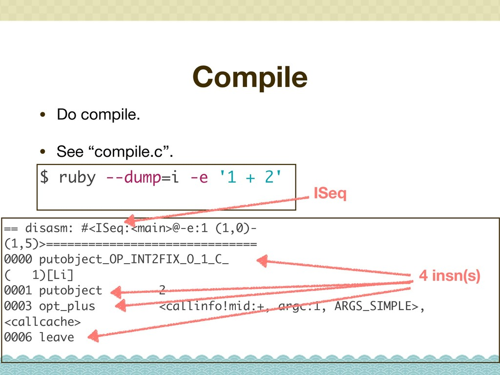 """Compile • Do compile.  • See """"compile.c"""". $ rub..."""