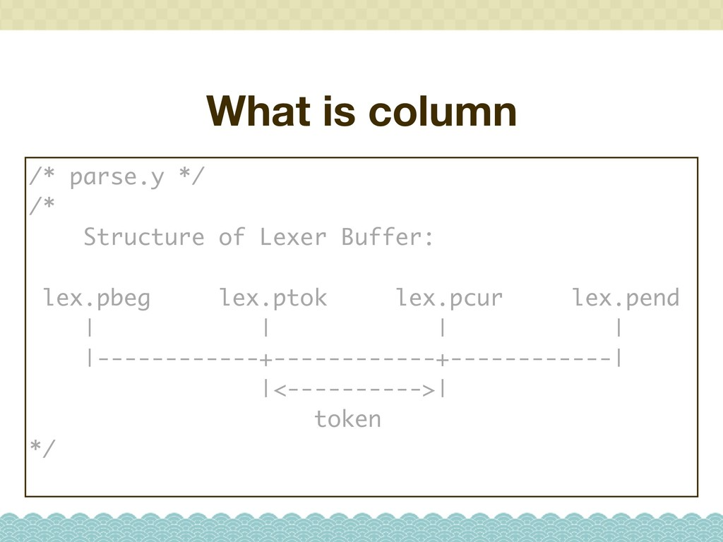 What is column /* parse.y */ /* Structure of Le...