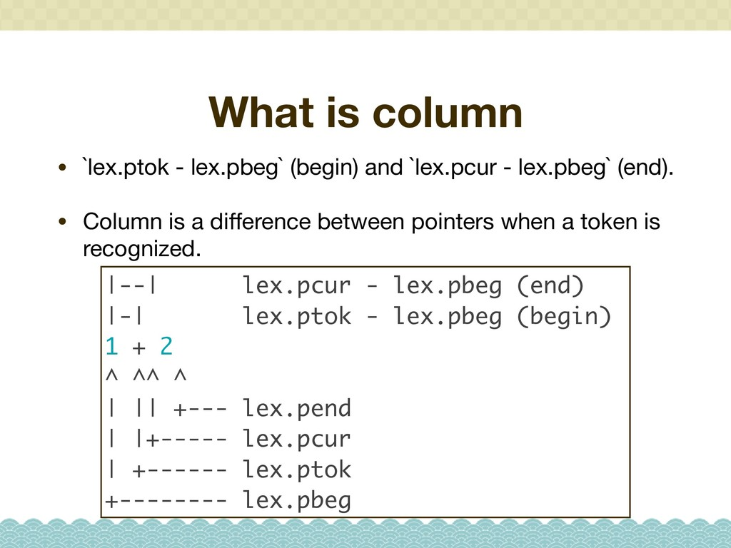 What is column • `lex.ptok - lex.pbeg` (begin) ...