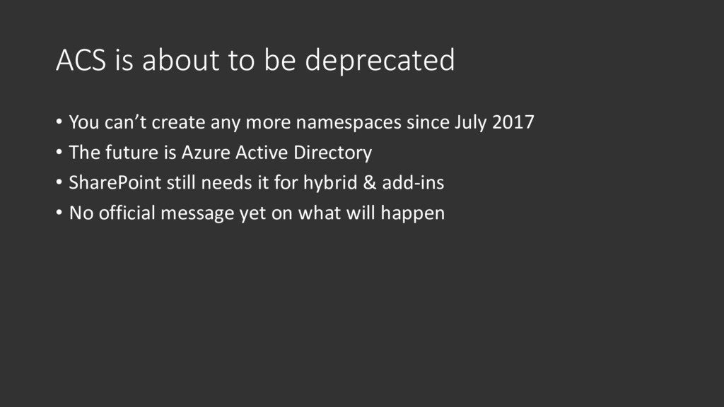 ACS is about to be deprecated • You can't creat...