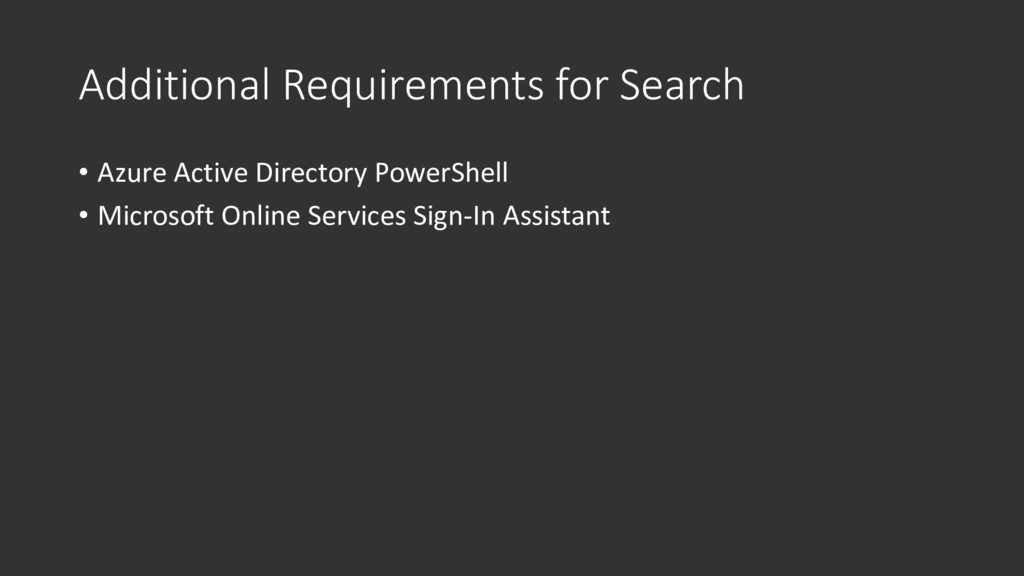 Additional Requirements for Search • Azure Acti...