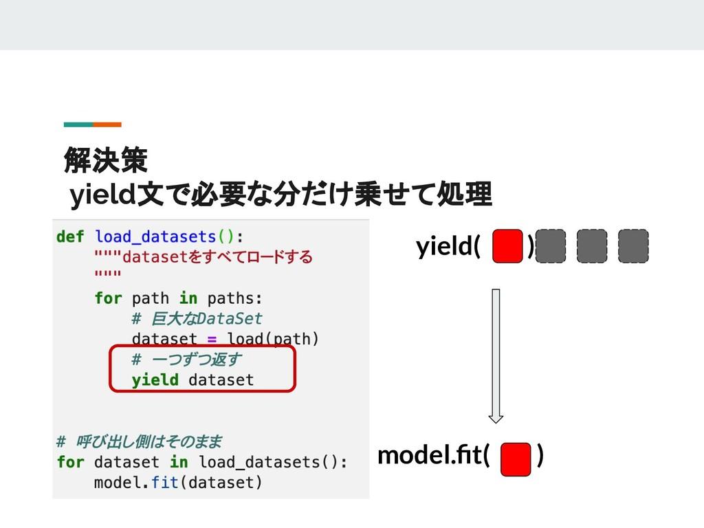 解決策 yield文で必要な分だけ乗せて処理  model.fit( ) yield( )