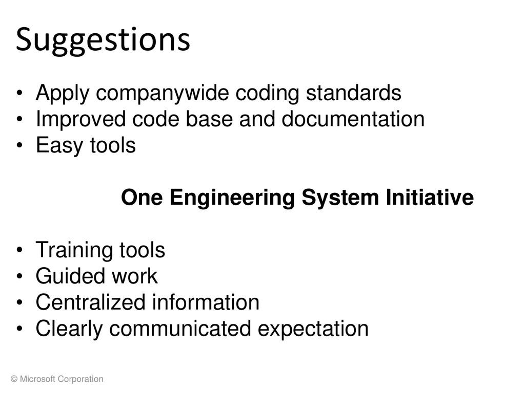 © Microsoft Corporation Suggestions • Apply com...
