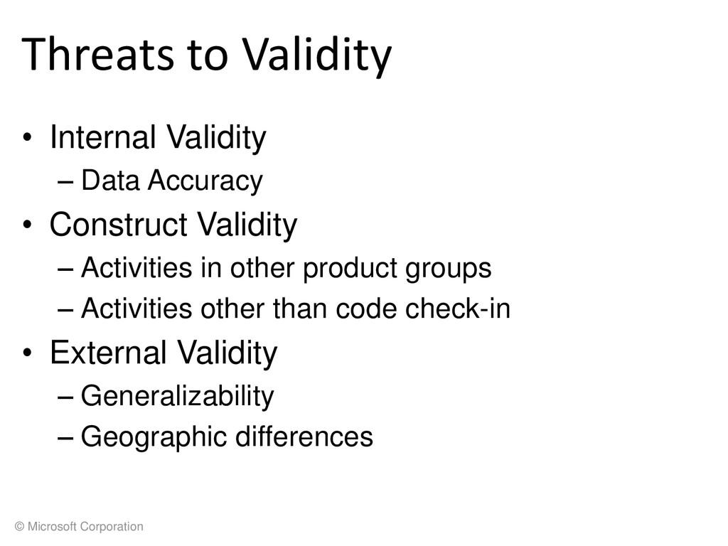 © Microsoft Corporation Threats to Validity • I...