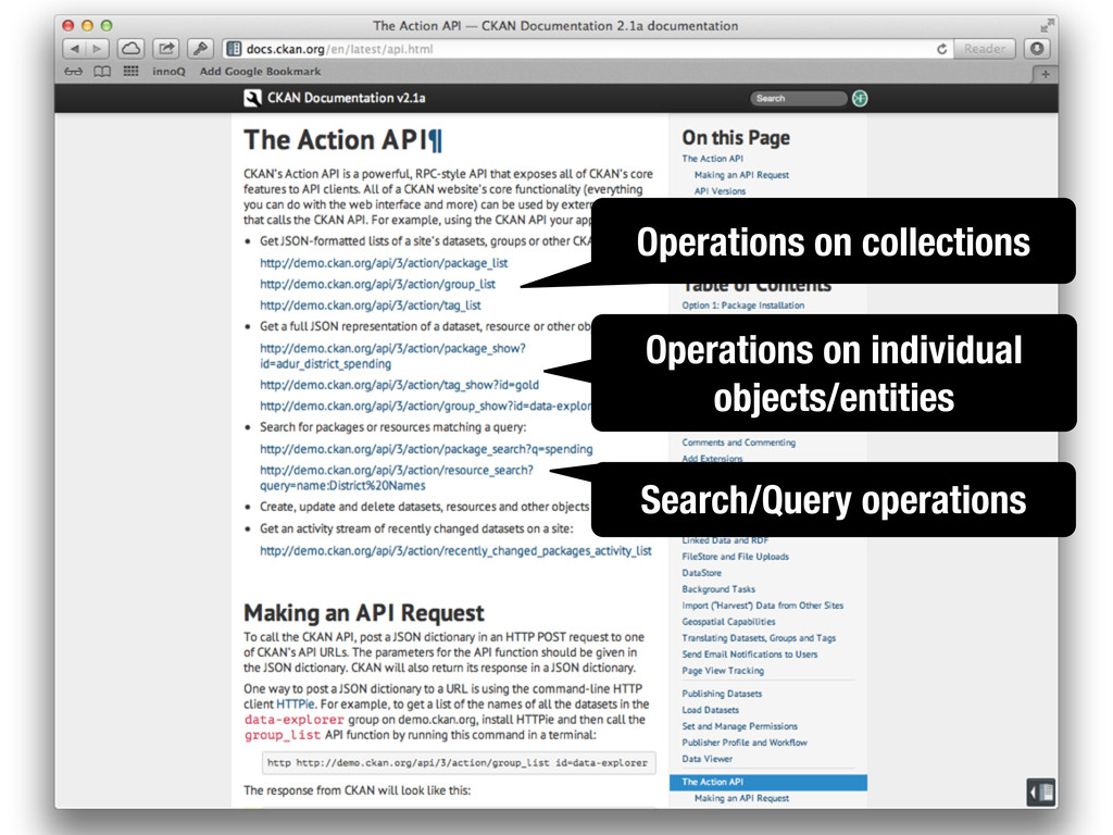 Operations on collections Operations on individ...