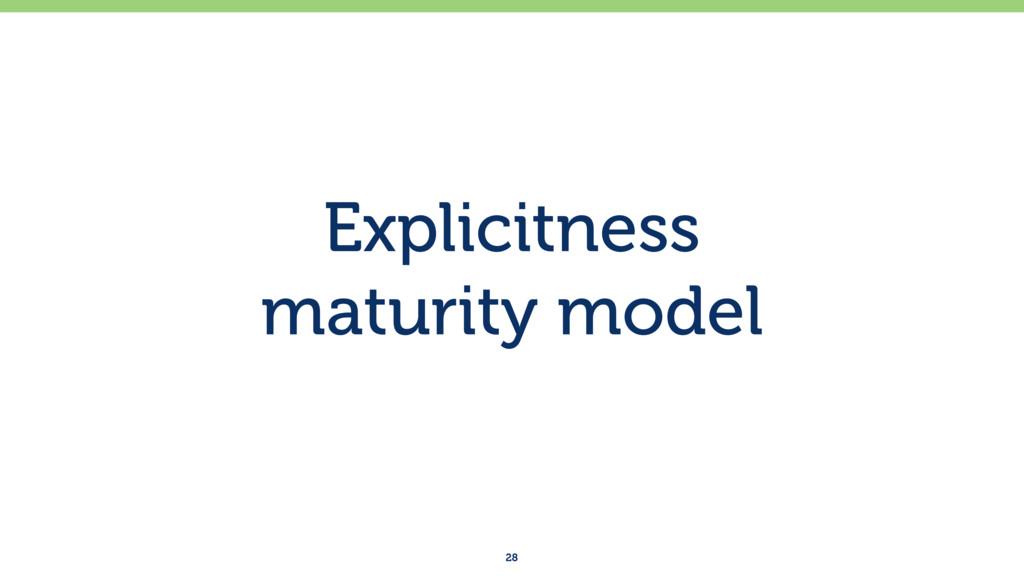 Explicitness maturity model 28