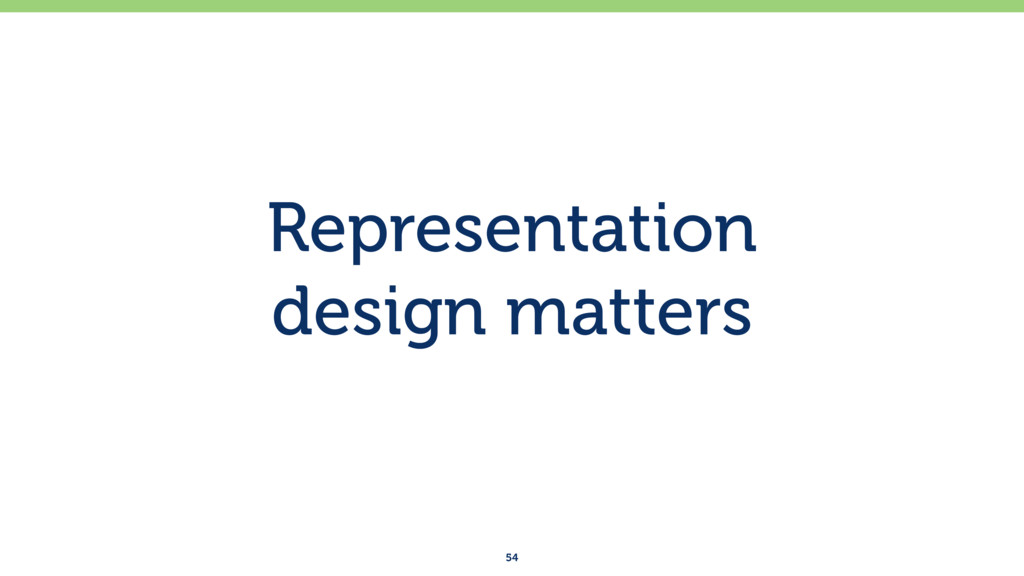 Representation design matters 54