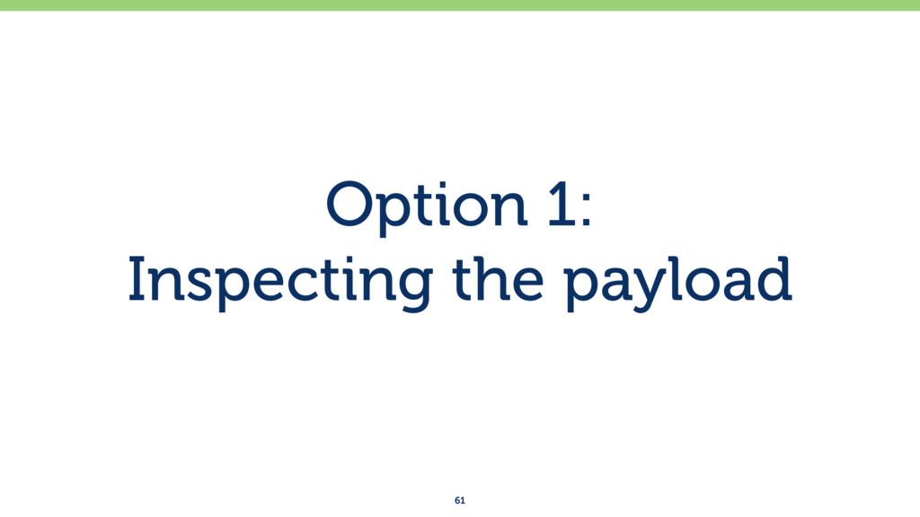 Option 1: Inspecting the payload 61
