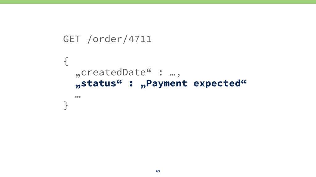"63 GET /order/4711 { ""createdDate"" : …, ""status..."