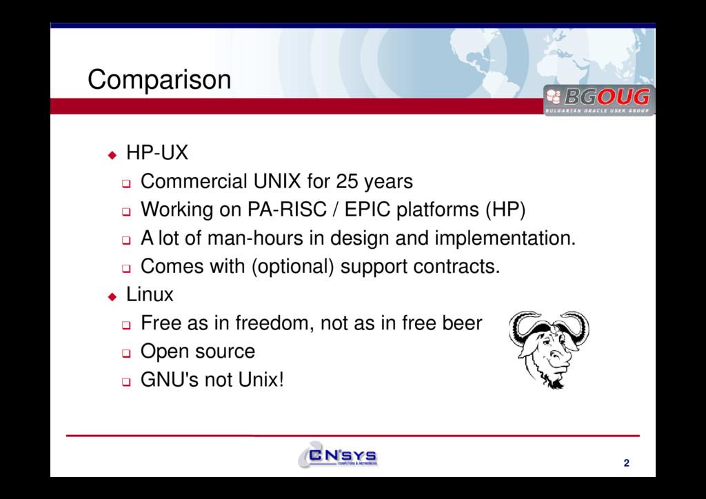 www.cnsys.bg Comparison HP-UX Commercial UNIX f...