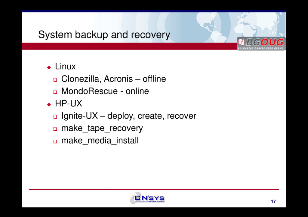 www.cnsys.bg System backup and recovery Linux C...