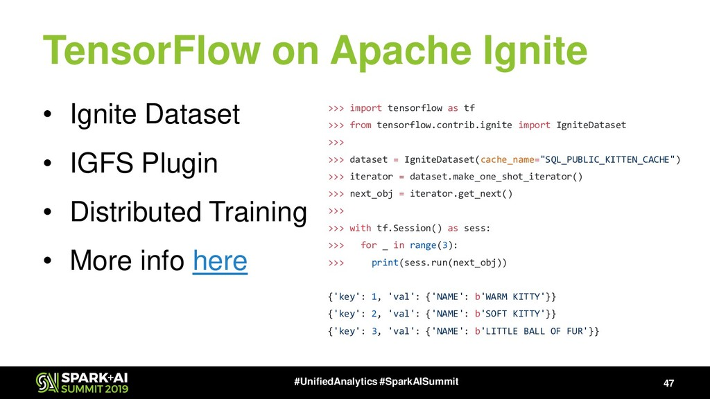 TensorFlow on Apache Ignite • Ignite Dataset • ...