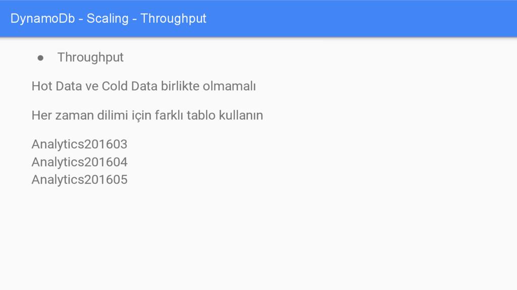 DynamoDb - Scaling - Throughput ● Throughput Ho...