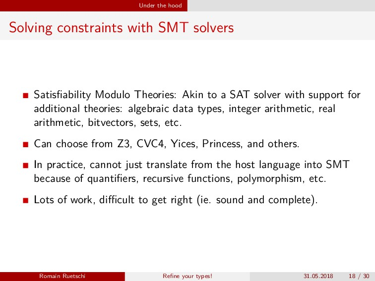 Under the hood Solving constraints with SMT sol...
