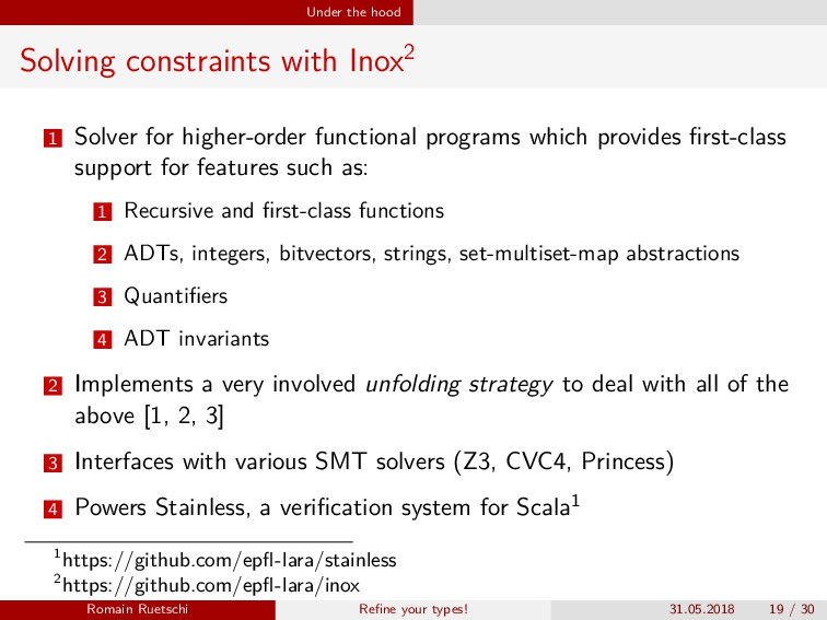 Under the hood Solving constraints with Inox2 1...