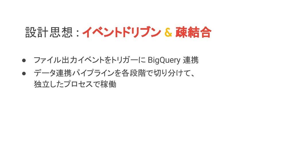設計思想 : イベントドリブン & 疎結合 ● ファイル出力イベントをトリガーに BigQue...