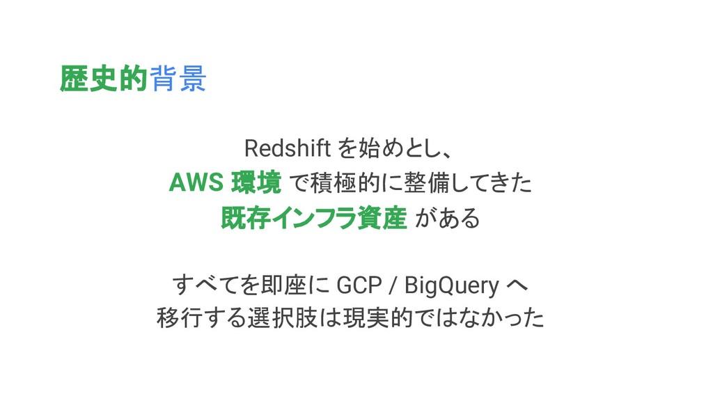 歴史的背景 Redshift を始めとし、 AWS 環境 で積極的に整備してきた 既存インフラ...