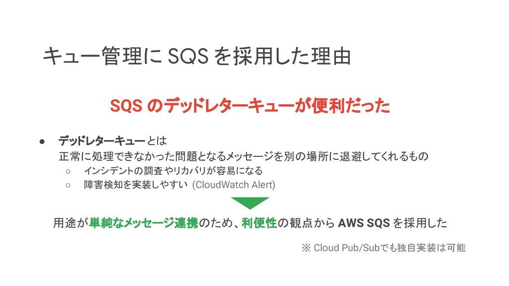 キュー管理に SQS を採用した理由 SQS のデッドレターキューが便利だった ● デッドレタ...