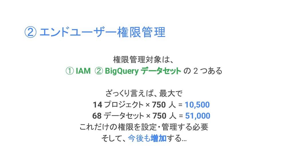 ② エンドユーザー権限管理 権限管理対象は、 ① IAM ② BigQuery データセット ...