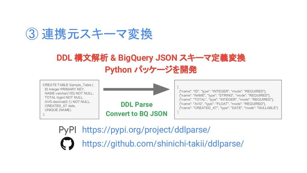 ③ 連携元スキーマ変換 DDL 構文解析 & BigQuery JSON スキーマ定義変換 P...