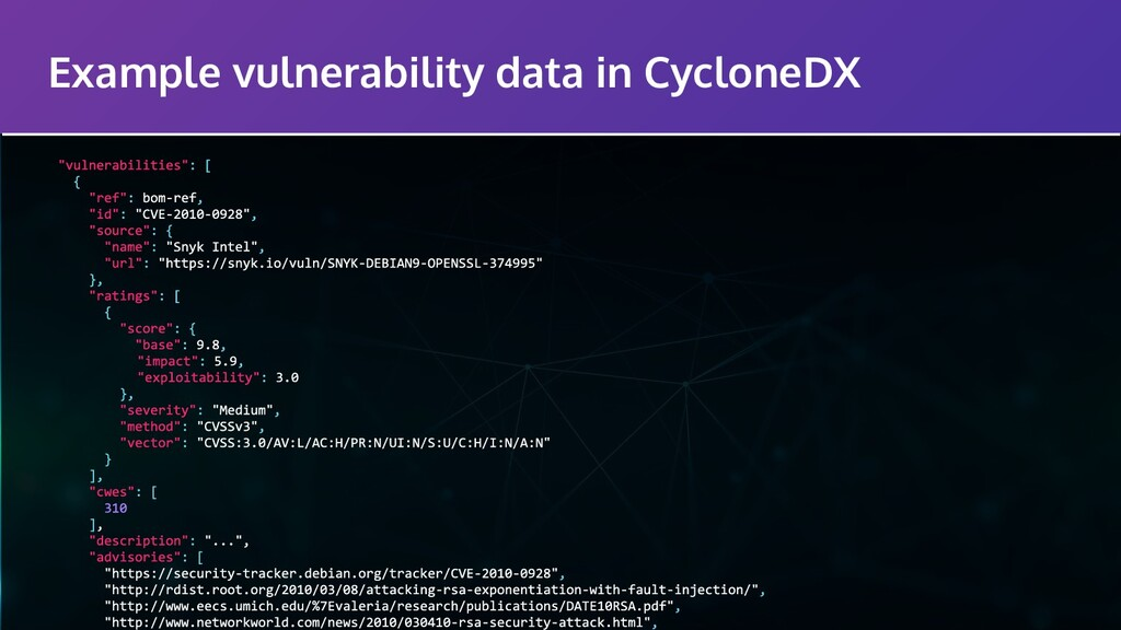 Example vulnerability data in CycloneDX