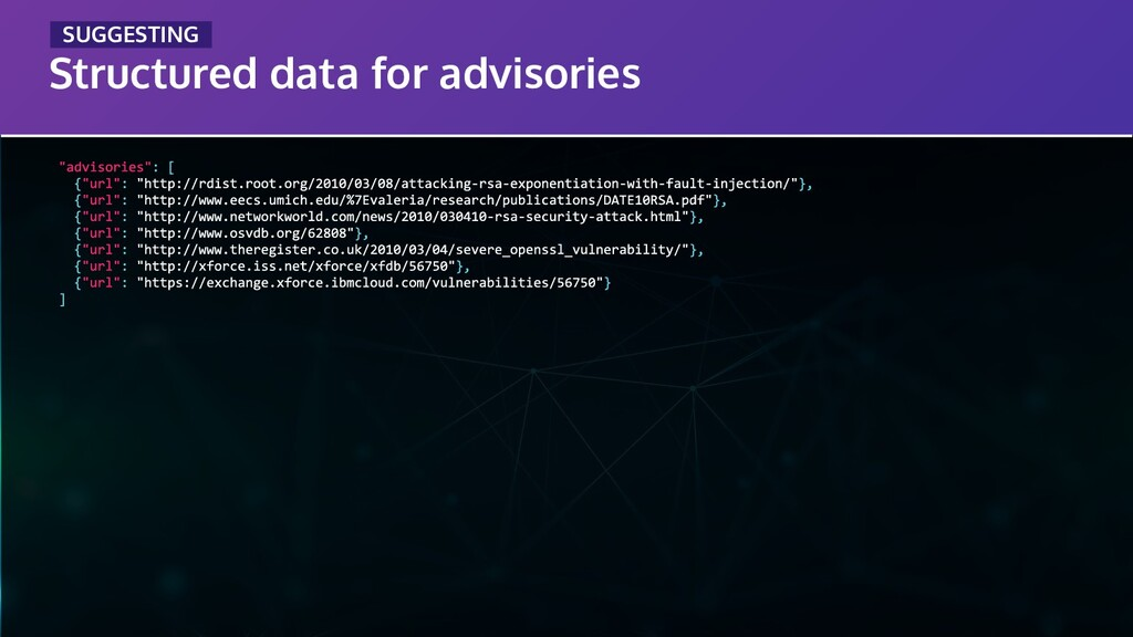Structured data for advisories _SUGGESTING_