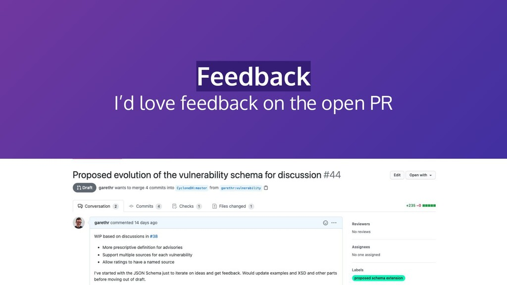 Feedback I'd love feedback on the open PR