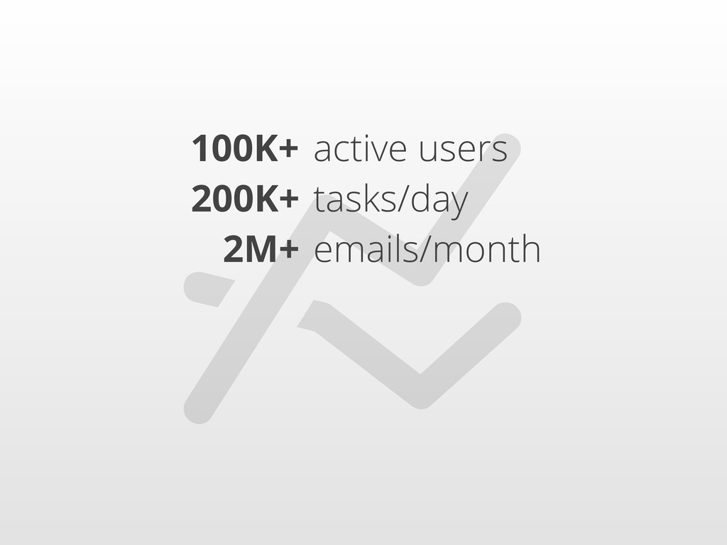 100K+ 200K+ 2M+ active users tasks/day emails/...