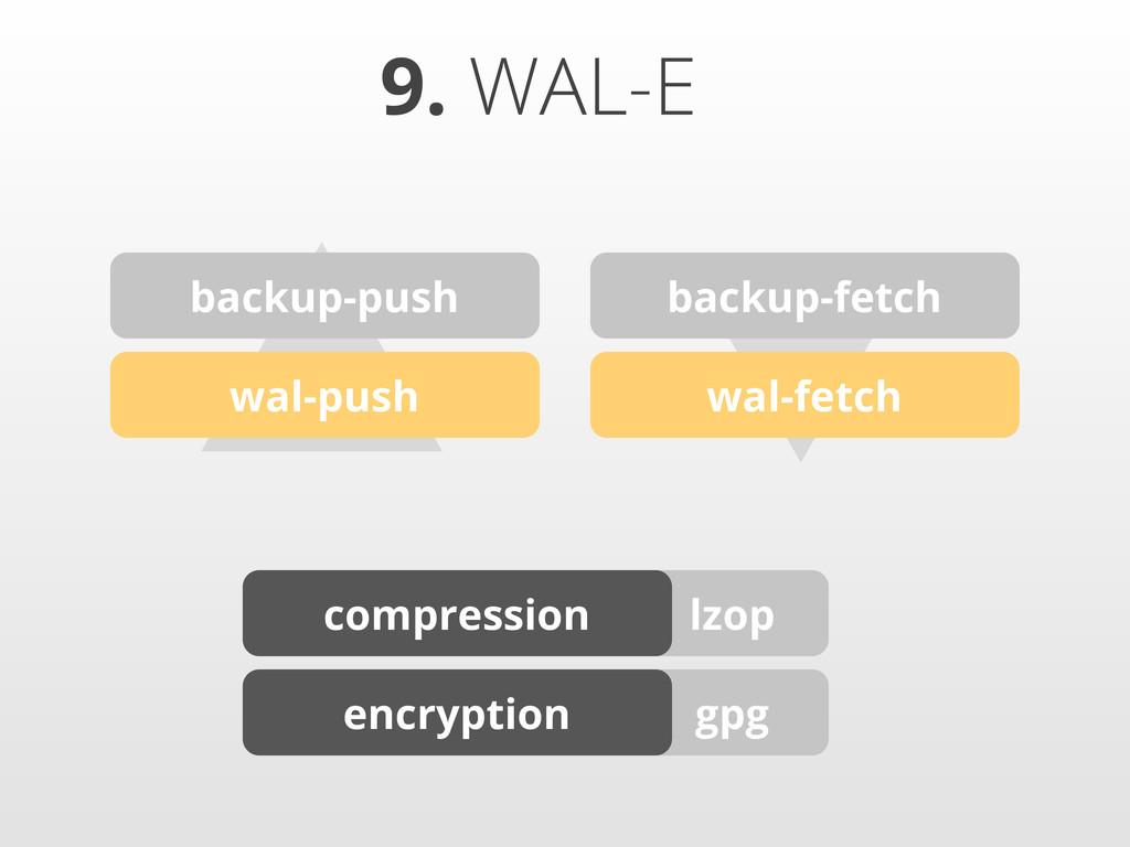 gpg lzop ▴▾ 9. WAL-E backup-push backup-fetch w...