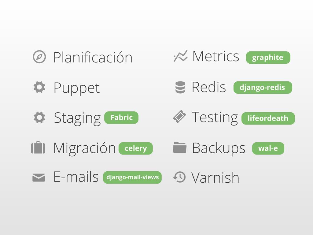  Planificación ⚙ Puppet ⚙ Staging Migración  ✉ ...