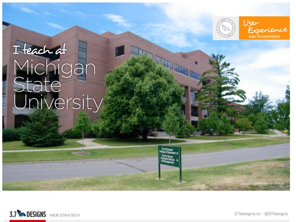 I teach at Michigan State University 3.7designs...