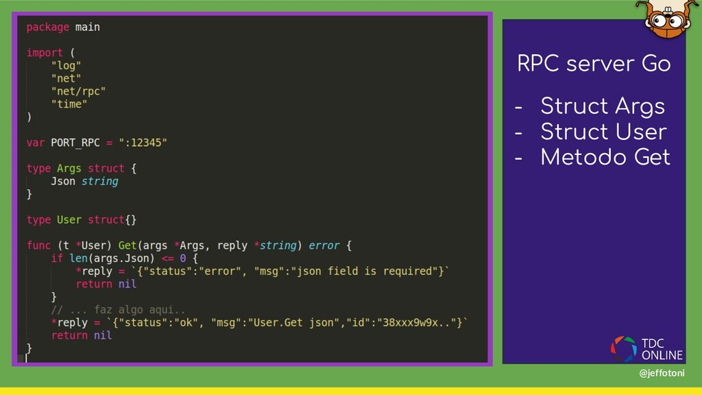 RPC server Go - Struct Args - Struct User - Met...