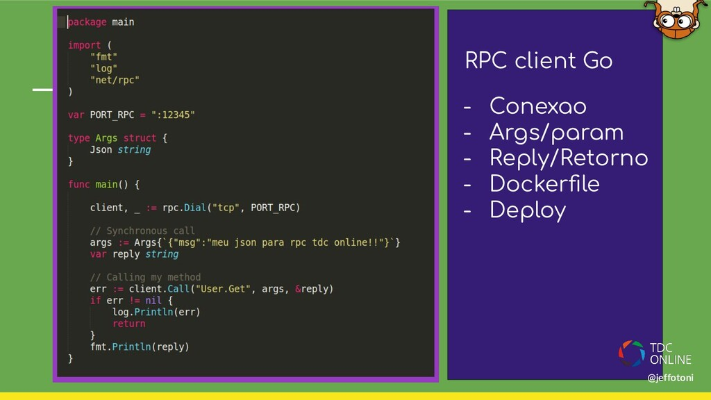 RPC client Go - Conexao - Args/param - Reply/Re...