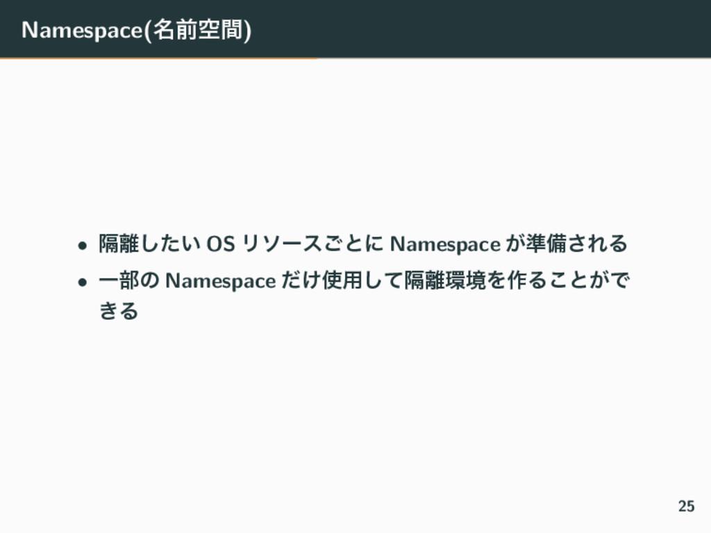 Namespace(໊લۭؒ) • ִ͍ͨ͠ OS Ϧιʔε͝ͱʹ Namespace ͕४...
