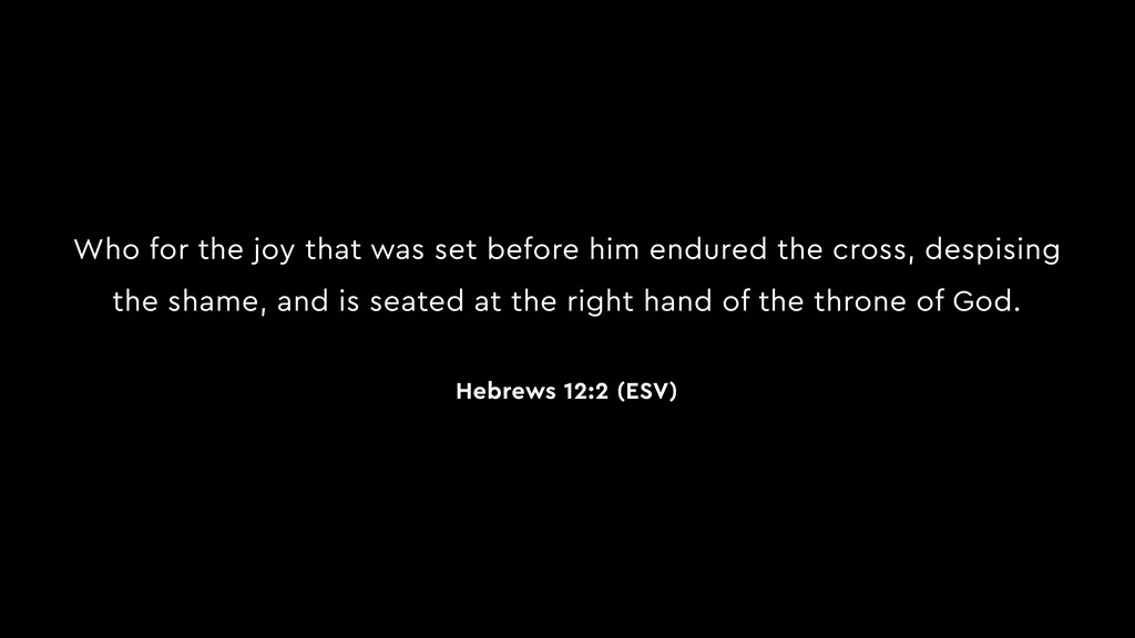 Who for the joy that was set before him endured...