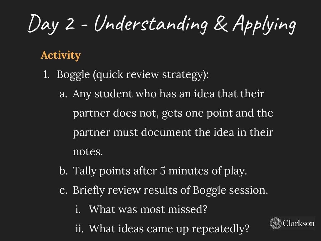 Day 2 - U nderstanding & A pplying Activity 1. ...