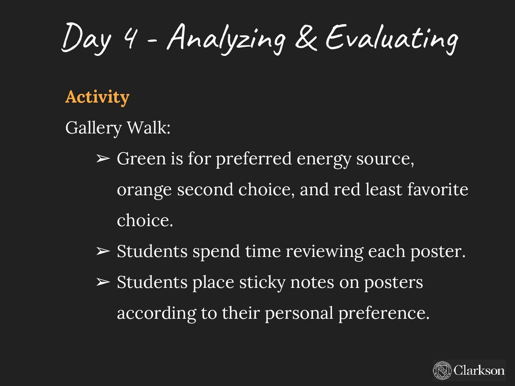 Day 4 - A nalyzing & Evaluating Activity Galler...