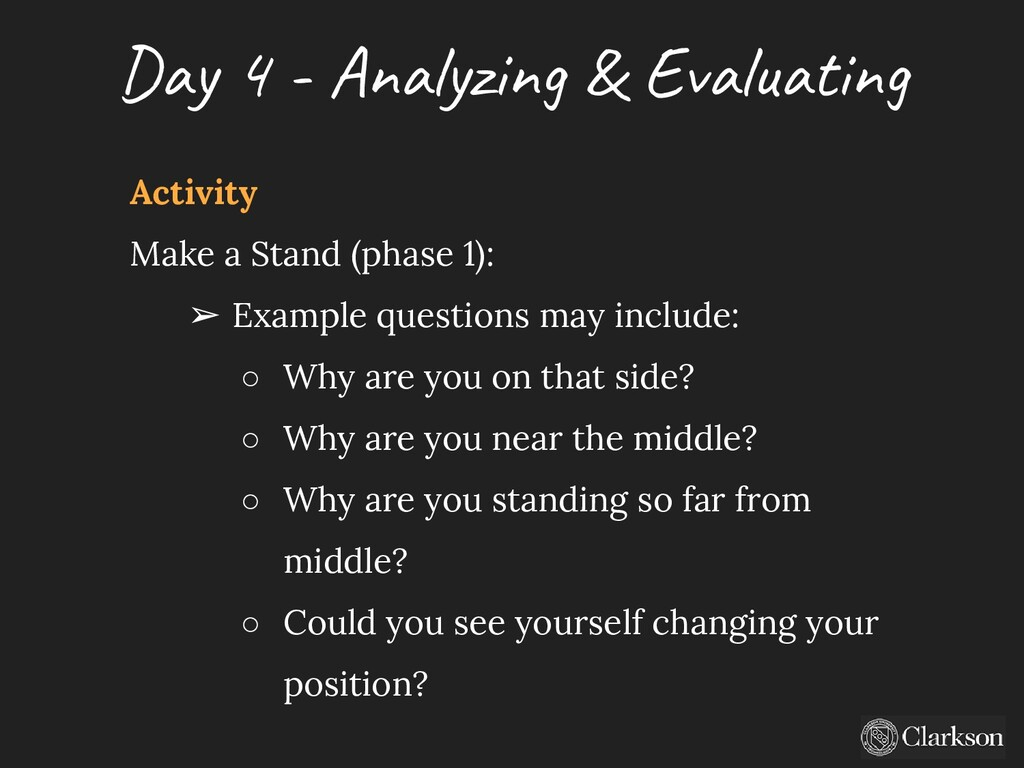 Day 4 - A nalyzing & Evaluating Activity Make a...