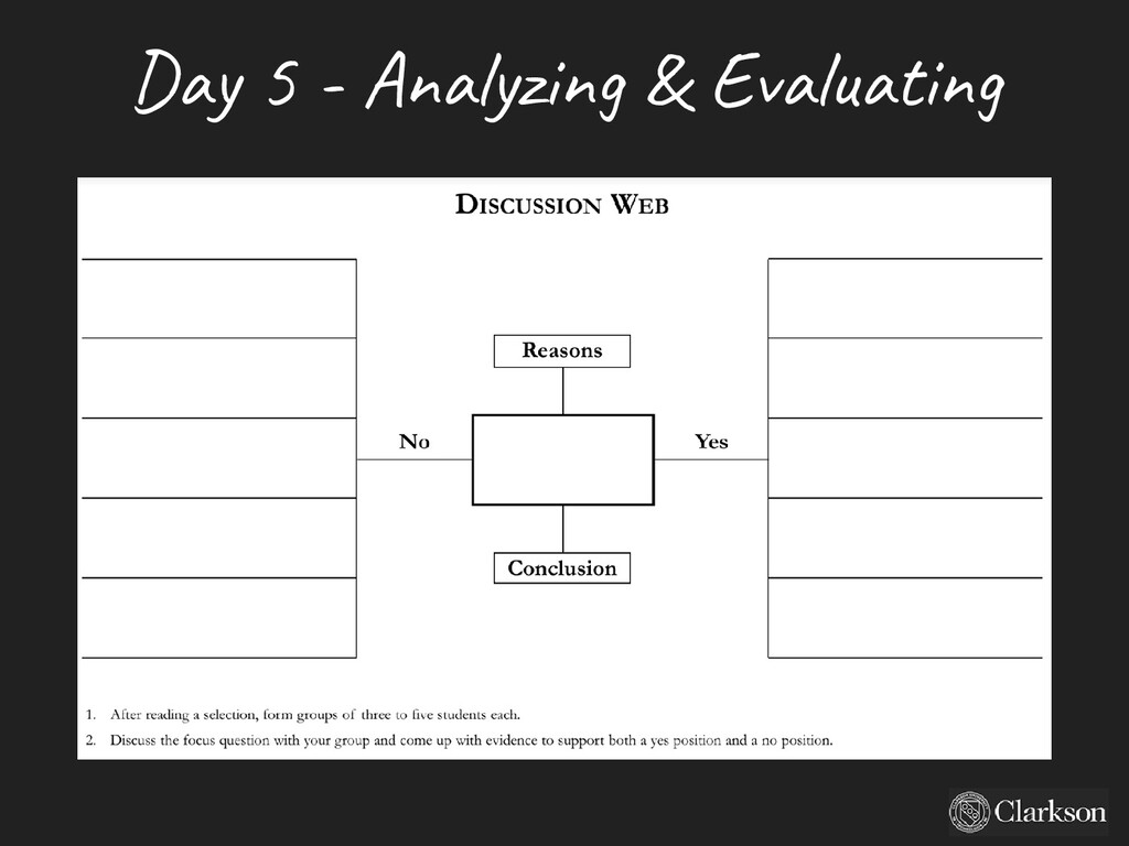 Day 5 - A nalyzing & Evaluating