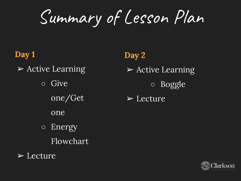 Sum m ary o f Le sso n P lan Day 2 ➢ Active Lea...