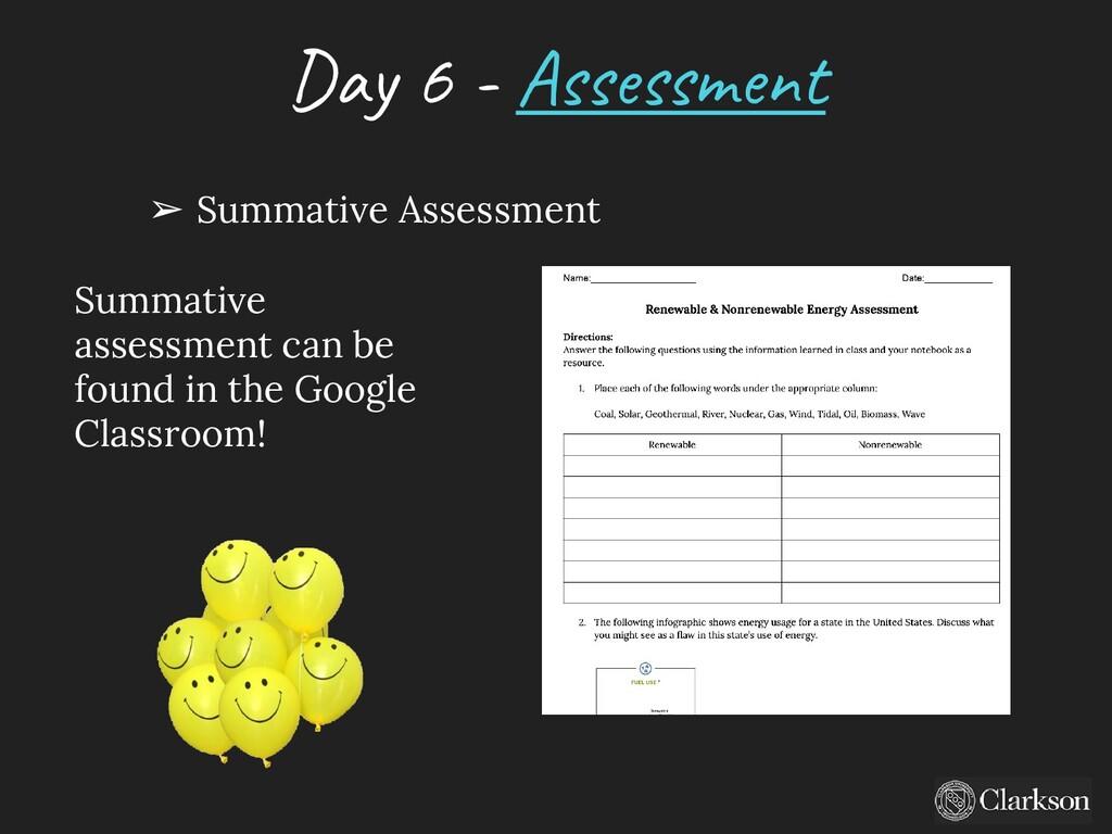 Day 6 - A ssessm ent ➢ Summative Assessment Sum...
