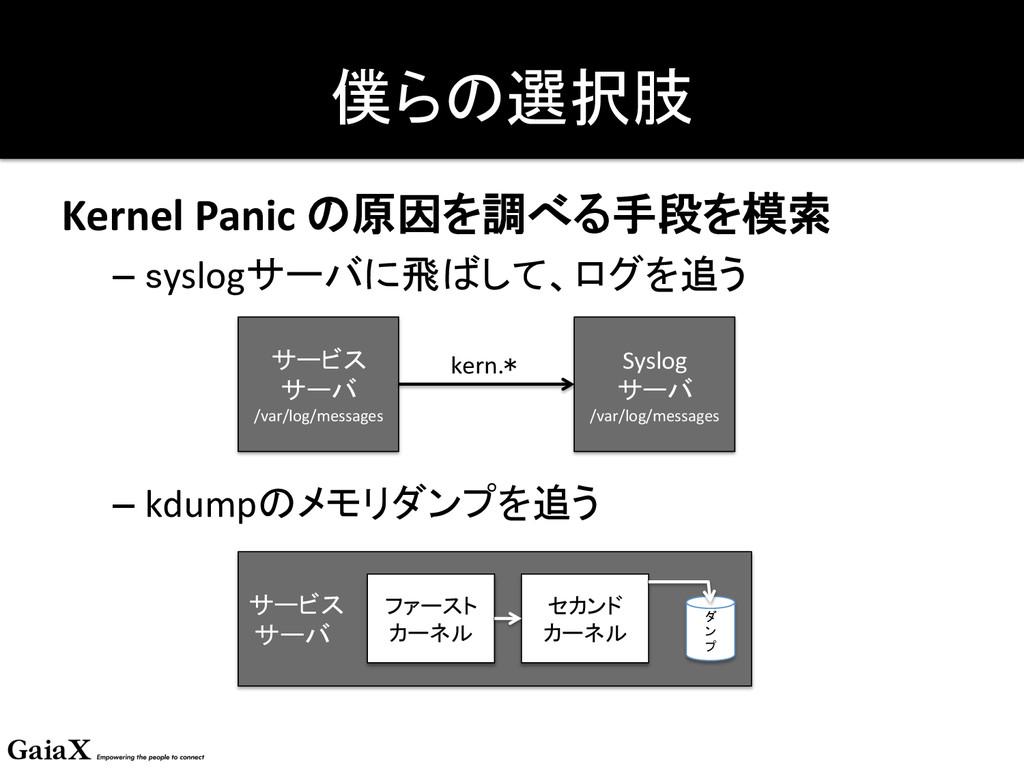 僕らの選択肢 Kernel Panic の原因を調べる手段を模索  –...