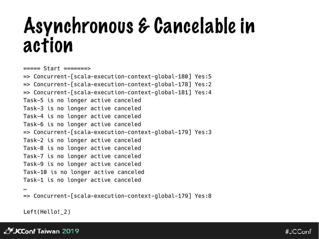 Asynchronous & Cancelable in action ===== Start...