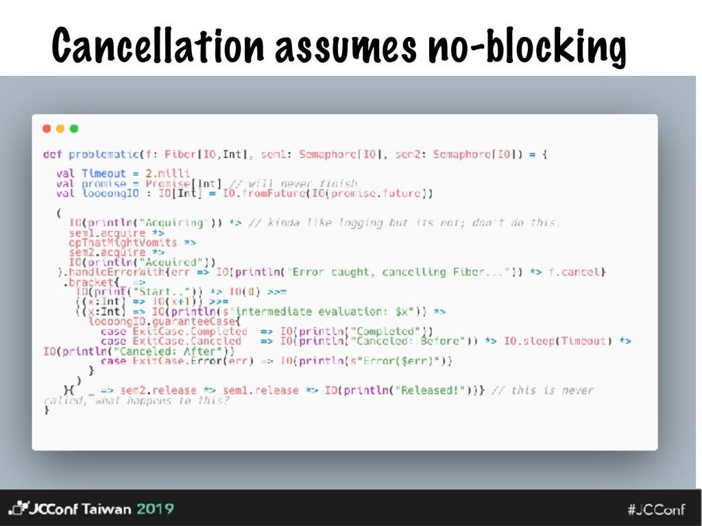 Cancellation assumes no-blocking