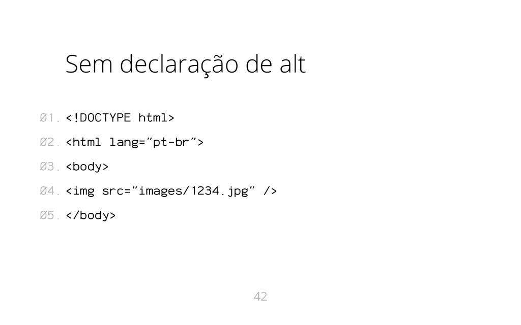 Sem declaração de alt <!DOCTYPE html> <html lan...
