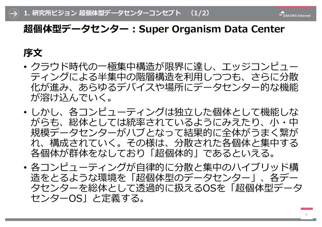 1. 研究所ビジョン 超個体型データセンターコンセプト (1/2) 超個体型データセンター :...