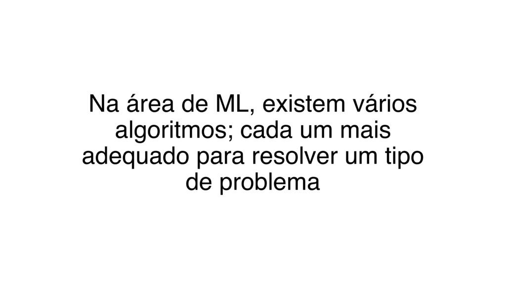 Na área de ML, existem vários algoritmos; cada ...